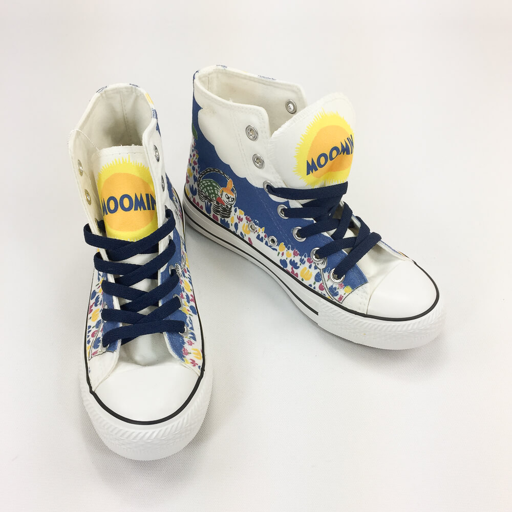 YOSHI850|Moomin嚕嚕米正版授權:帆布鞋【05白鞋藏青帶】