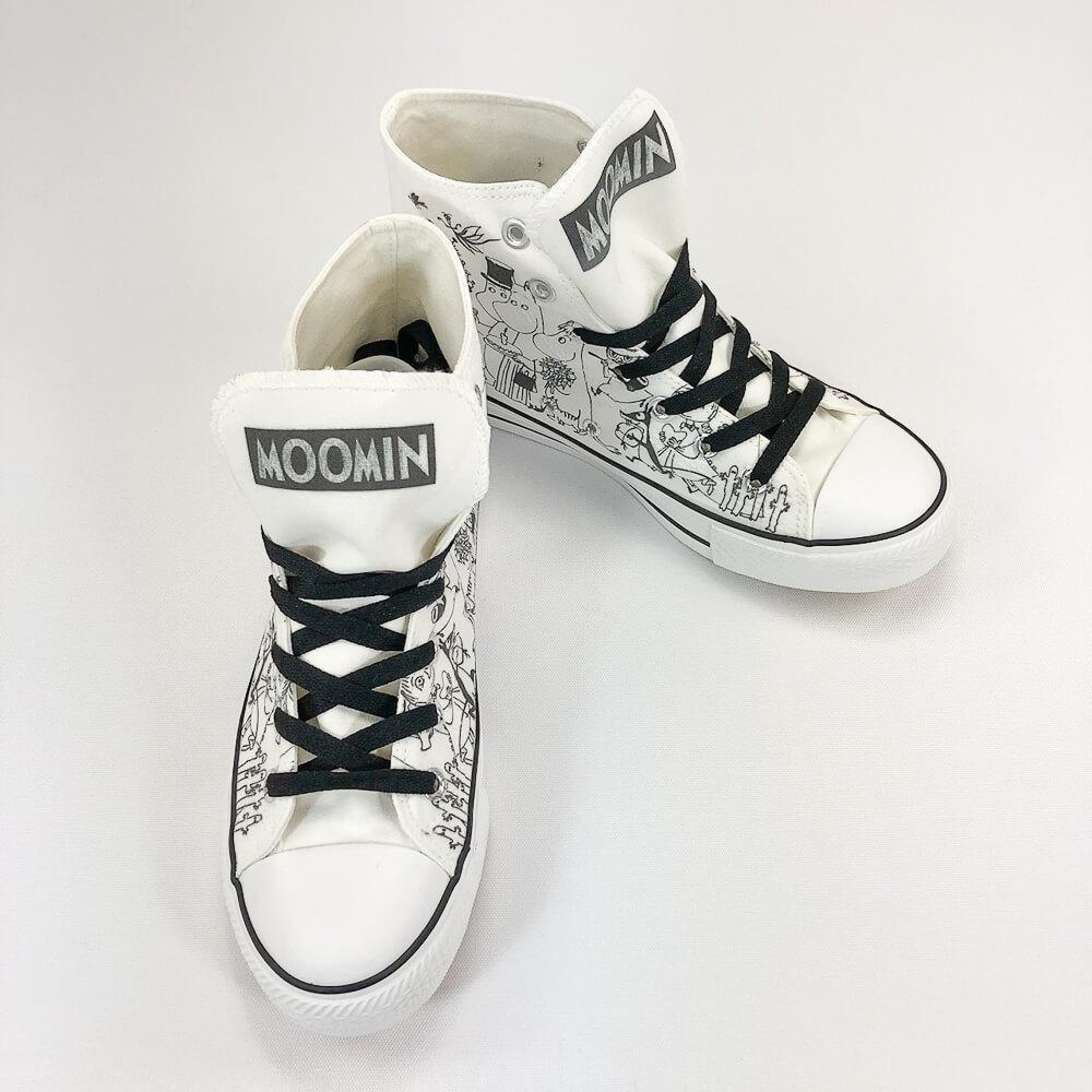 YOSHI850|Moomin嚕嚕米正版授權:帆布鞋【07白鞋黑帶】