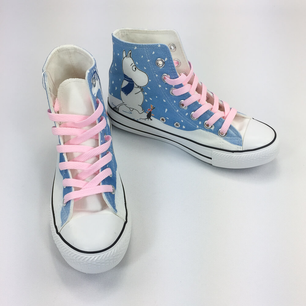 YOSHI850|Moomin嚕嚕米正版授權:帆布鞋【11白鞋粉帶】