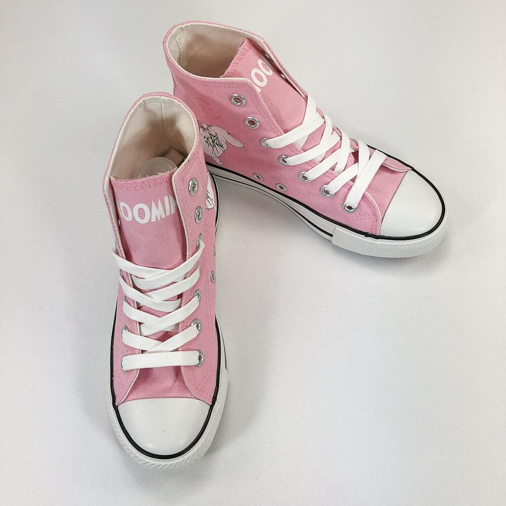 YOSHI850|Moomin嚕嚕米正版授權:帆布鞋【12粉鞋白帶】