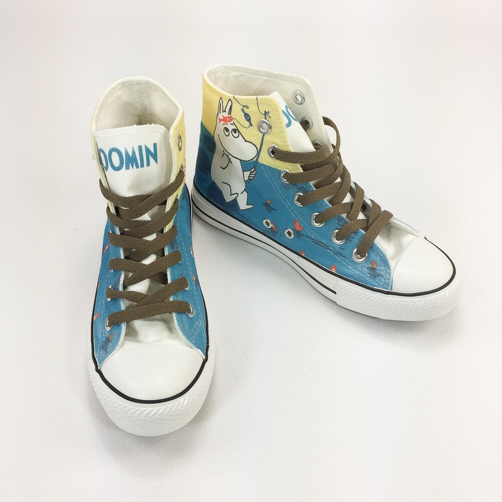 YOSHI850|Moomin嚕嚕米正版授權:帆布鞋【13白鞋咖帶】