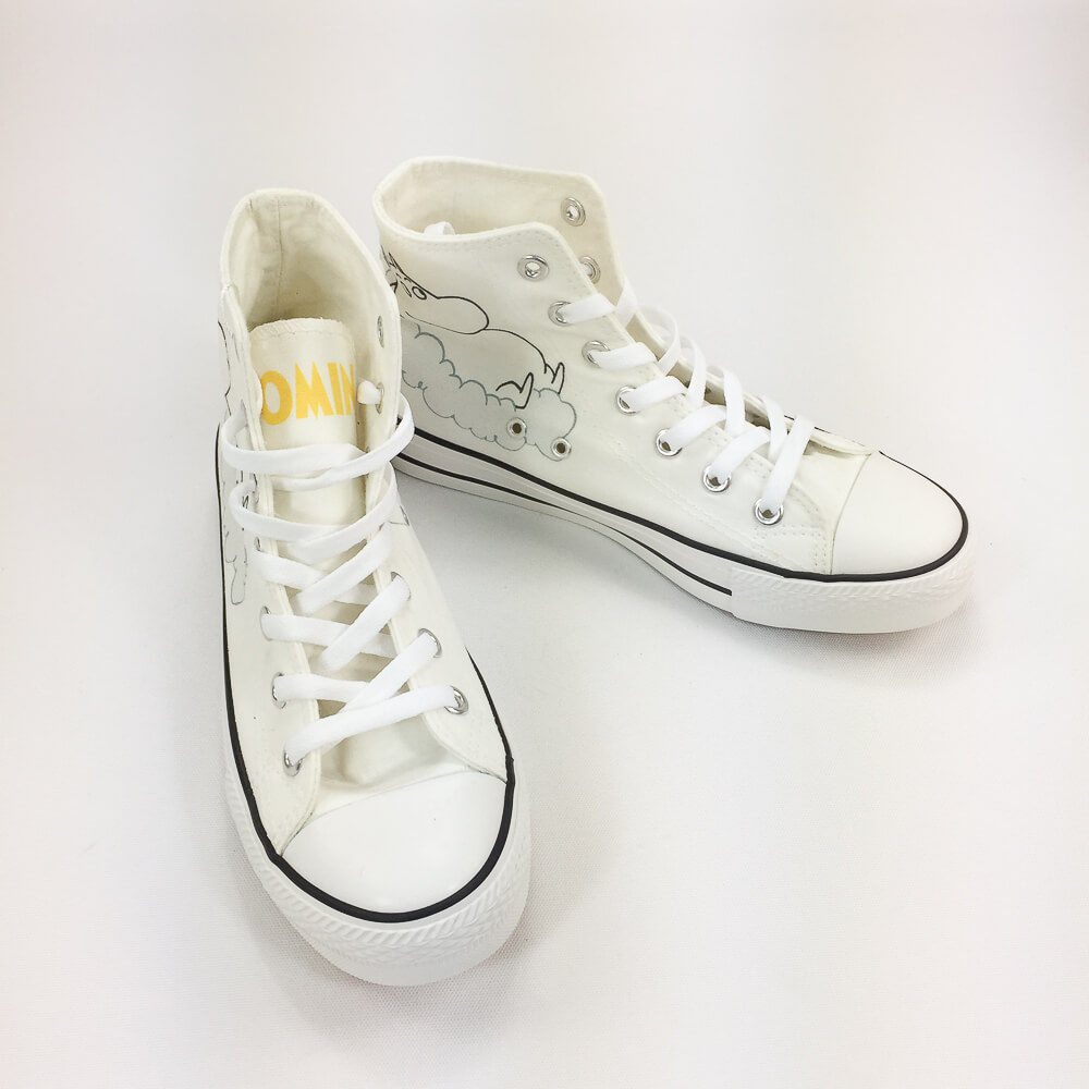YOSHI850|Moomin嚕嚕米正版授權:帆布鞋【16白鞋白帶】