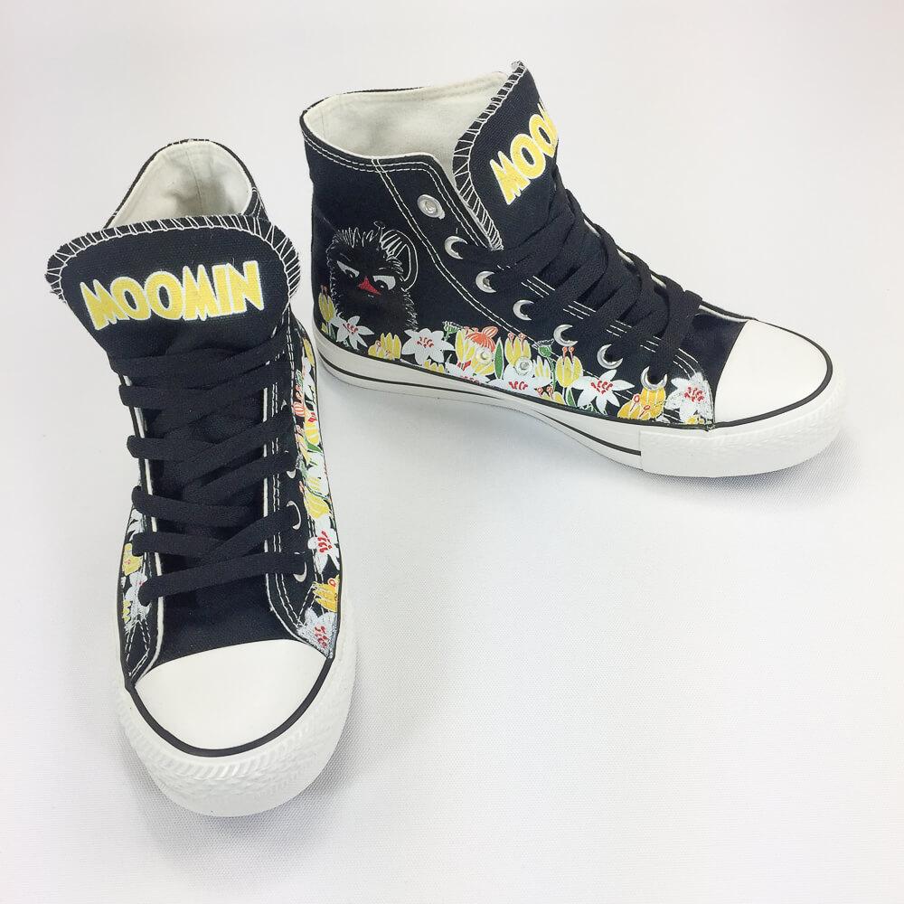 YOSHI850 Moomin嚕嚕米正版授權:帆布鞋【17黑鞋黑帶】