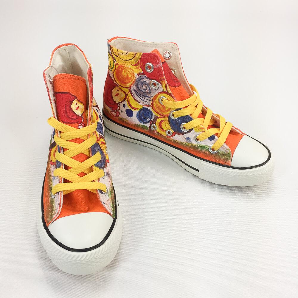 YOSHI850|新創設計師系列:帆布鞋【01 夢想樹(橘鞋黃帶)】