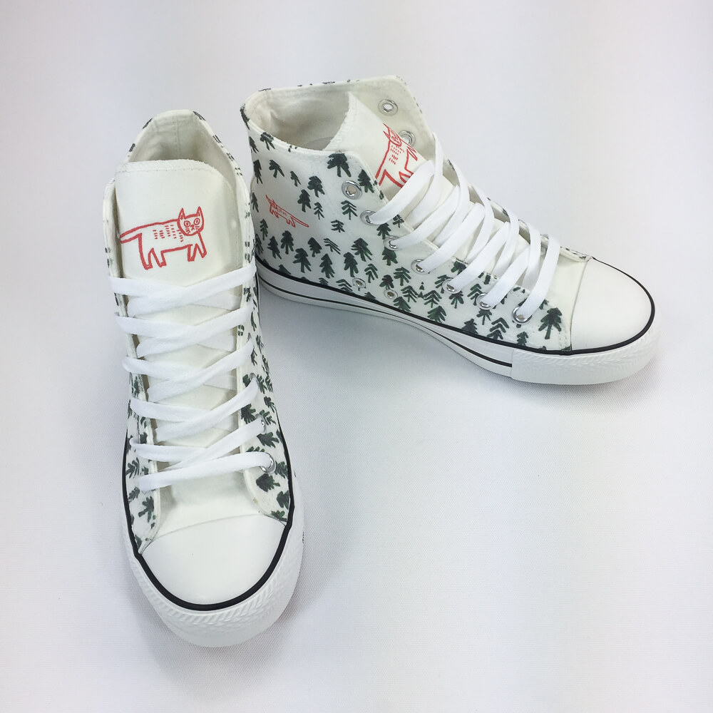 YOSHI850|新創設計師系列:帆布鞋【04 森林裡的一隻貓(白鞋白帶)】