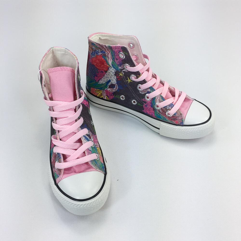 YOSHI850|新創設計師系列:帆布鞋【05 HIGH BY THE BEACH(粉鞋粉帶)】