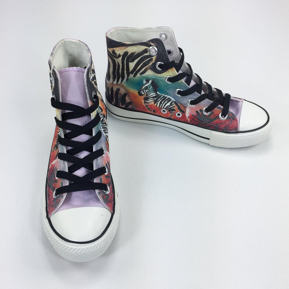 YOSHI850|新創設計師系列:帆布鞋【06 斑馬 (紫鞋黑帶)】
