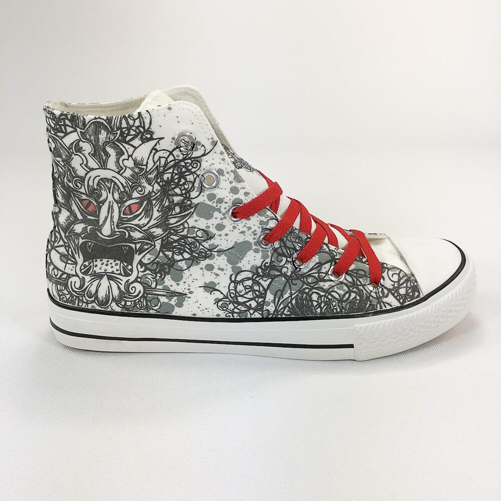 YOSHI850 新創設計師850 Collections:帆布鞋【07 白鞋紅帶】