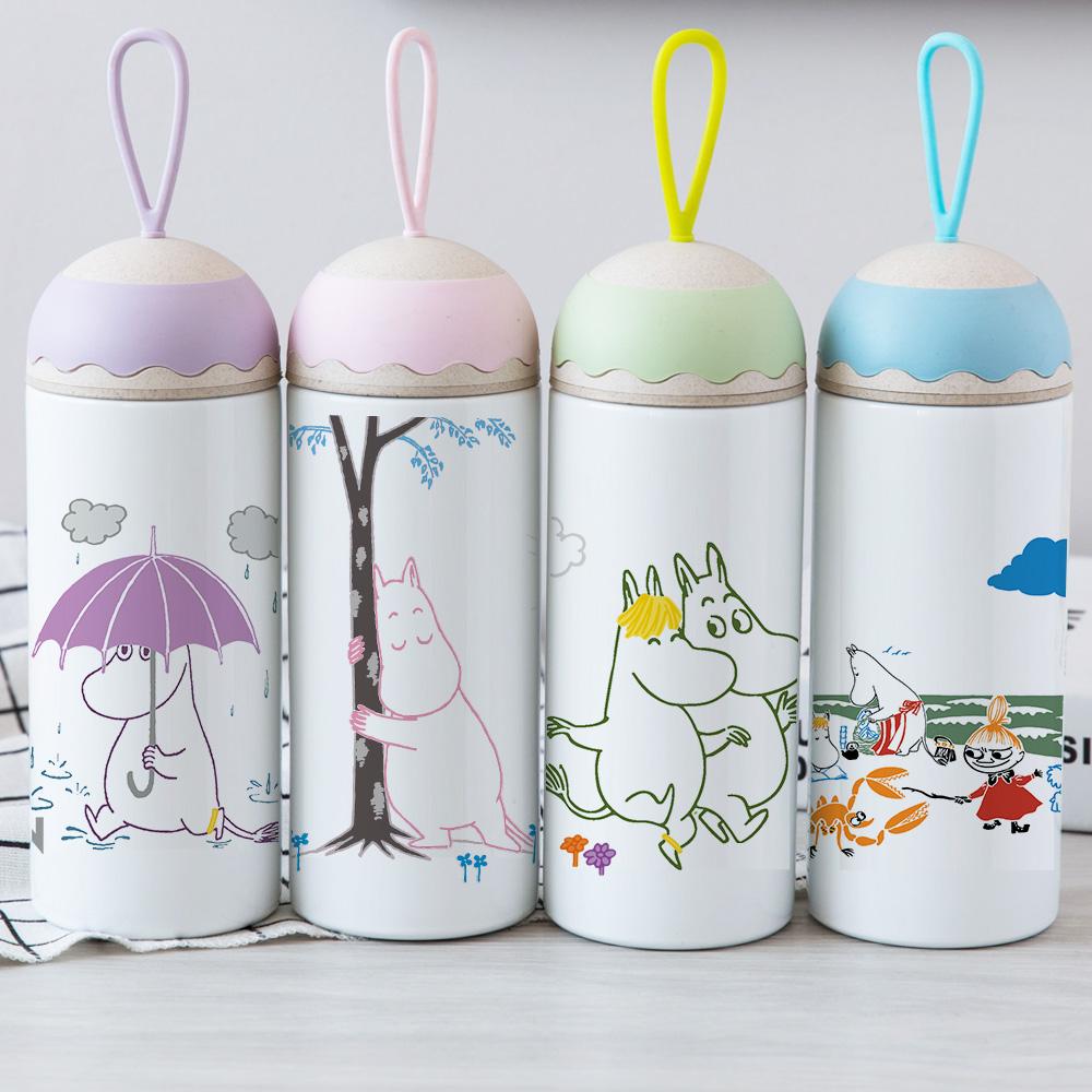YOSHI850|Moomin嚕嚕米正版授權:彩色提帶可愛造型保溫瓶(350ml)【02 紫白】