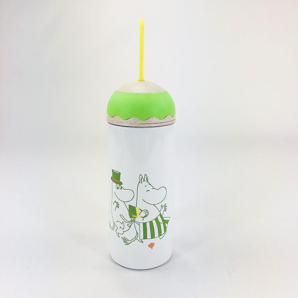YOSHI850|Moomin嚕嚕米正版授權:彩色提帶可愛造型保溫瓶(350ml)【03 綠白】
