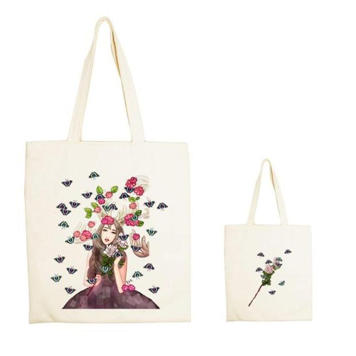 (複製)YOSHI850|新創設計師系列:手提購物包【台灣黑熊 熊蓋芽-新年快樂  】米白/麻黃