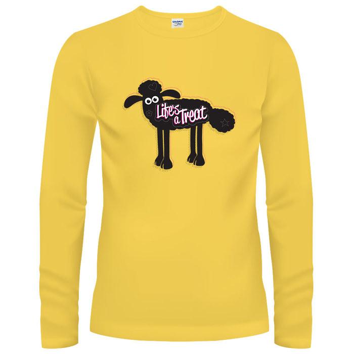 YOSHI850|笑笑羊正版授權【05 小羊印象】長袖T-shirt (修身)粉紅色