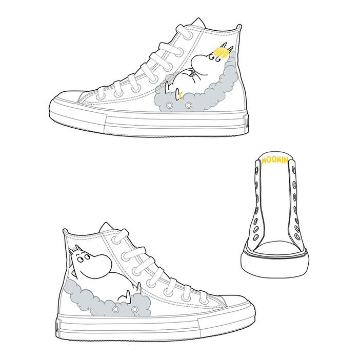 (複製)YOSHI850|Moomin嚕嚕米正版授權:帆布鞋【15黃鞋橘帶】