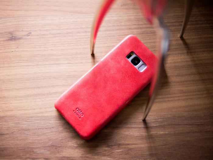 Alto|Samsung Galaxy S8 真皮手機殼背蓋 Original - 珊瑚紅