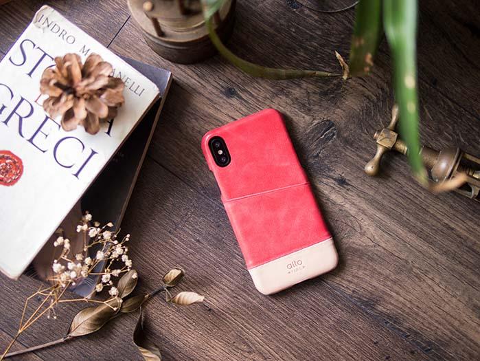 (複製)Alto|iPhone X 皮革保護殼 Metro (渡鴉黑/焦糖棕)