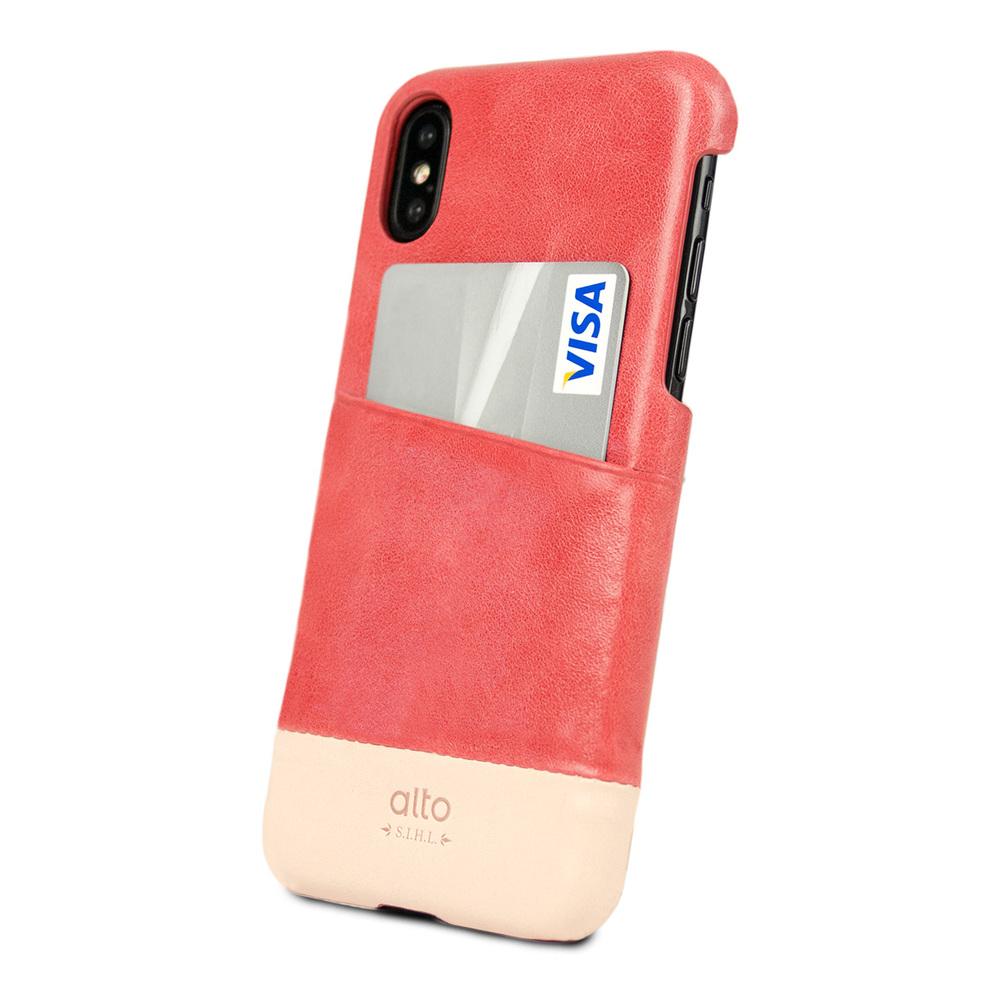 Alto|iPhone X 皮革保護殼 Metro (珊瑚紅/本色)