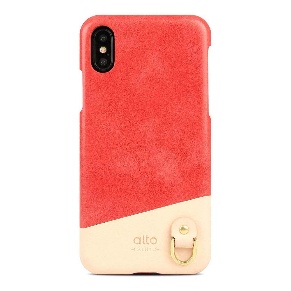 Alto|iPhone X 皮革保護殼 Anello (珊瑚紅)