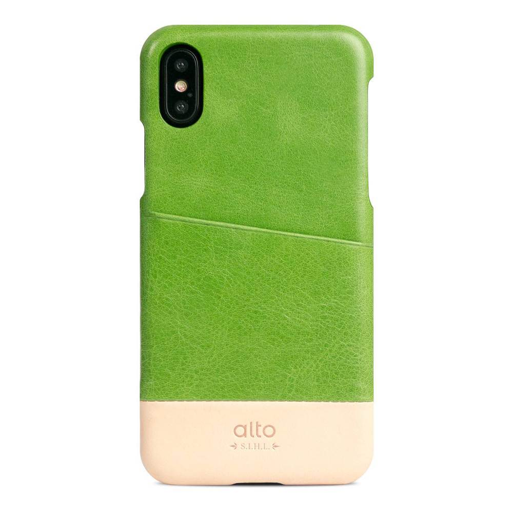 Alto|iPhone X 皮革保護殼 Metro (萊姆綠/本色)