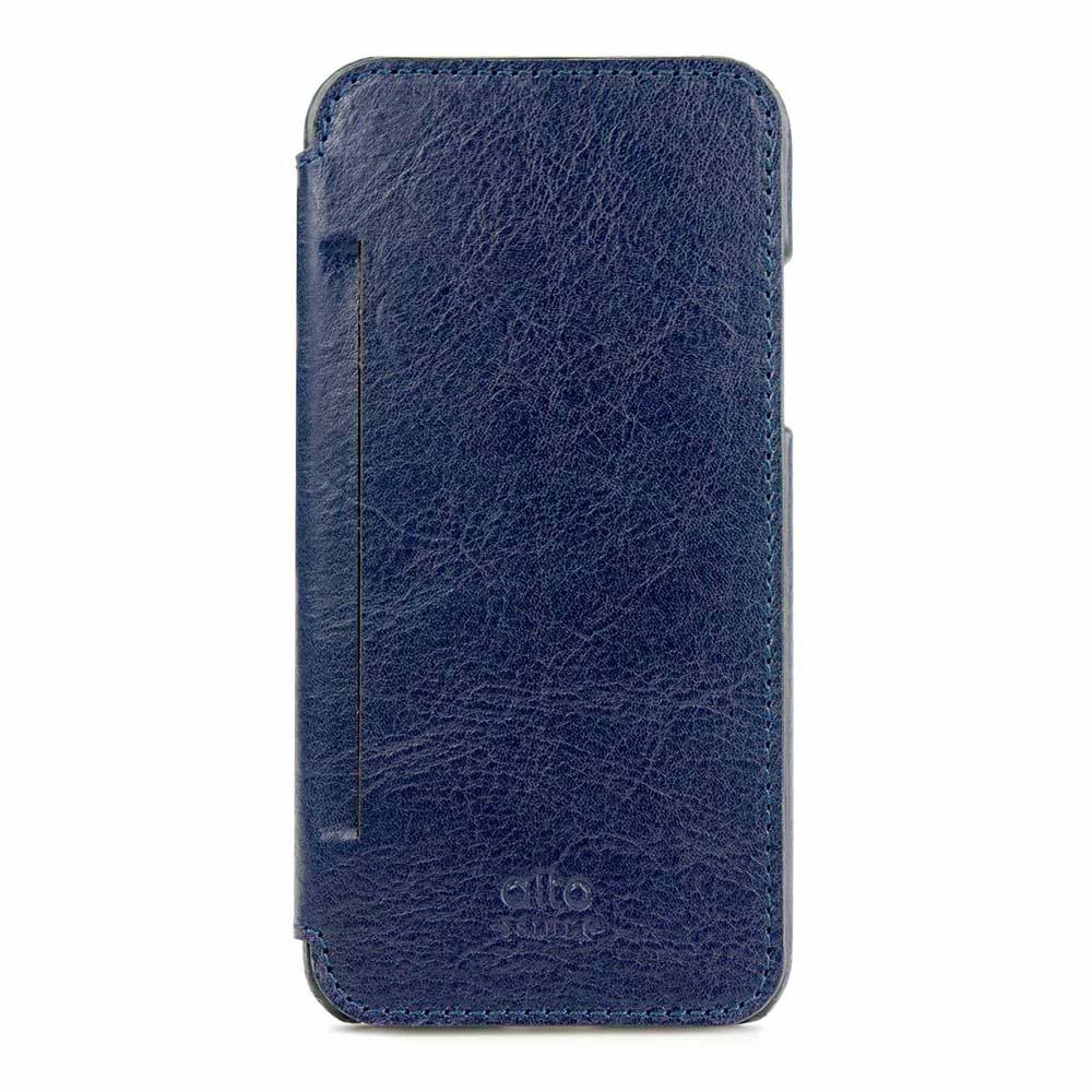 Alto|alto iPhone X / Xs 側翻式皮革手機套 Foglia - 海軍藍