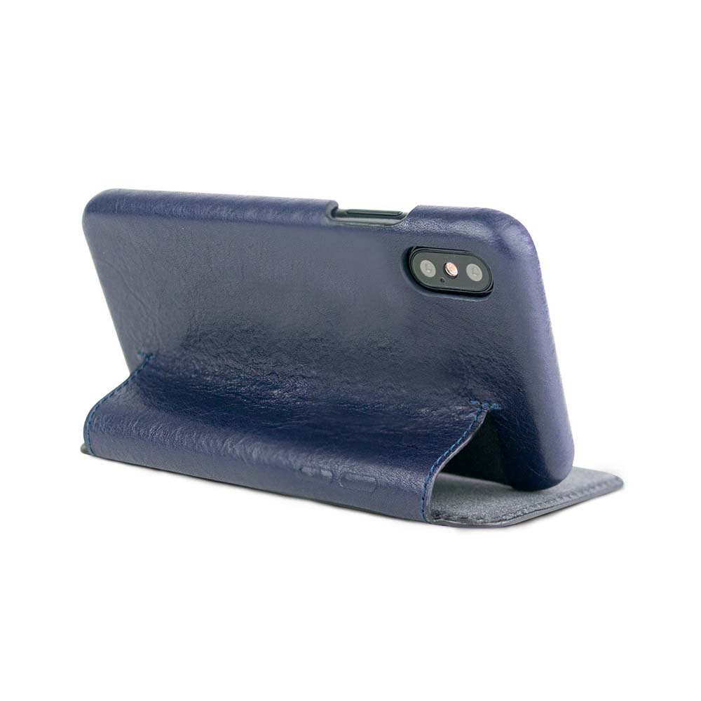 Alto|alto iPhone X 側翻式皮革手機套 Foglia - 海軍藍
