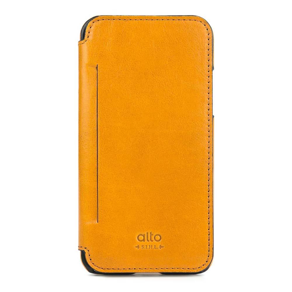 Alto|alto iPhone X 側翻式皮革手機套 Foglia - 焦糖棕