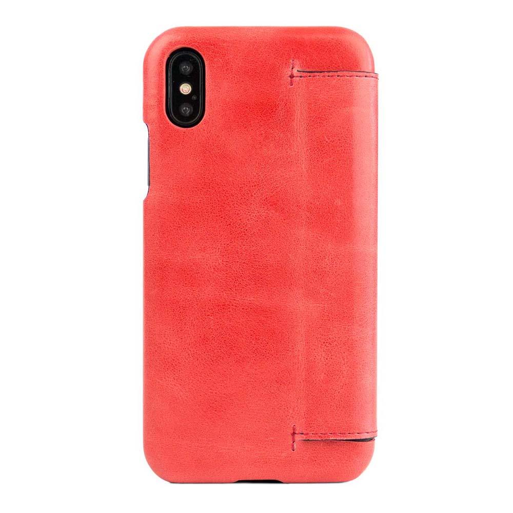 Alto|alto iPhone X / Xs 側翻式皮革手機套 Foglia - 珊瑚紅