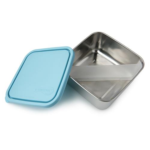 美國U Konserve|大方形不鏽鋼分隔便當盒 (二分格可拆) 一抹天藍