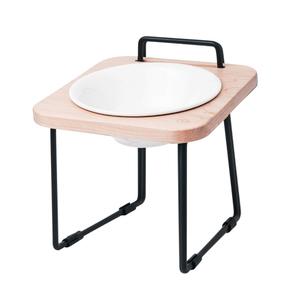 拍拍|原木寵物托高碗架 S16-楓木(不鏽鋼碗+瓷碗)