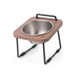 拍拍 原木寵物托高碗架 XS12-胡桃木(不鏽鋼碗)