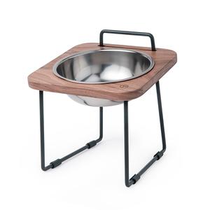 拍拍 原木寵物托高碗架 S16-胡桃木(不鏽鋼碗)
