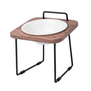 拍拍|原木寵物托高碗架 S16-胡桃木(不鏽鋼碗+瓷碗)