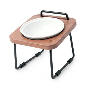 拍拍|原木寵物托高碗架 XS12-胡桃木(不鏽鋼碗+瓷碗)