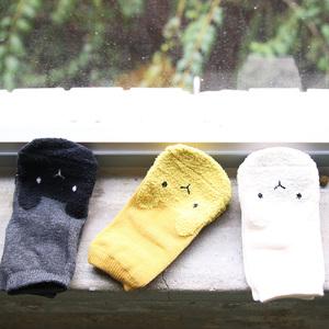 彌之星 MiniDressing 兒童彈性止滑襪(三件組)-無辜小兔