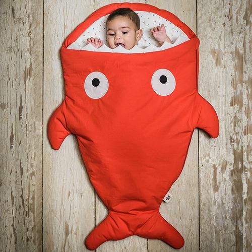 鯊魚咬一口 BabyBites 100%純棉手作嬰幼兒睡袋/防踢被/包巾-喜氣紅