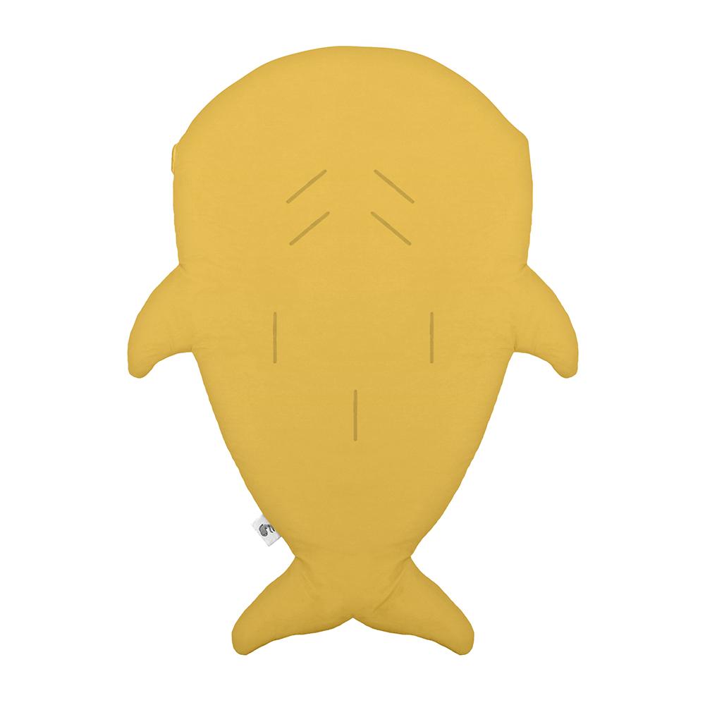 鯊魚咬一口 BabyBites|100%純棉手作嬰幼兒睡袋/防踢被/包巾-芥末黃