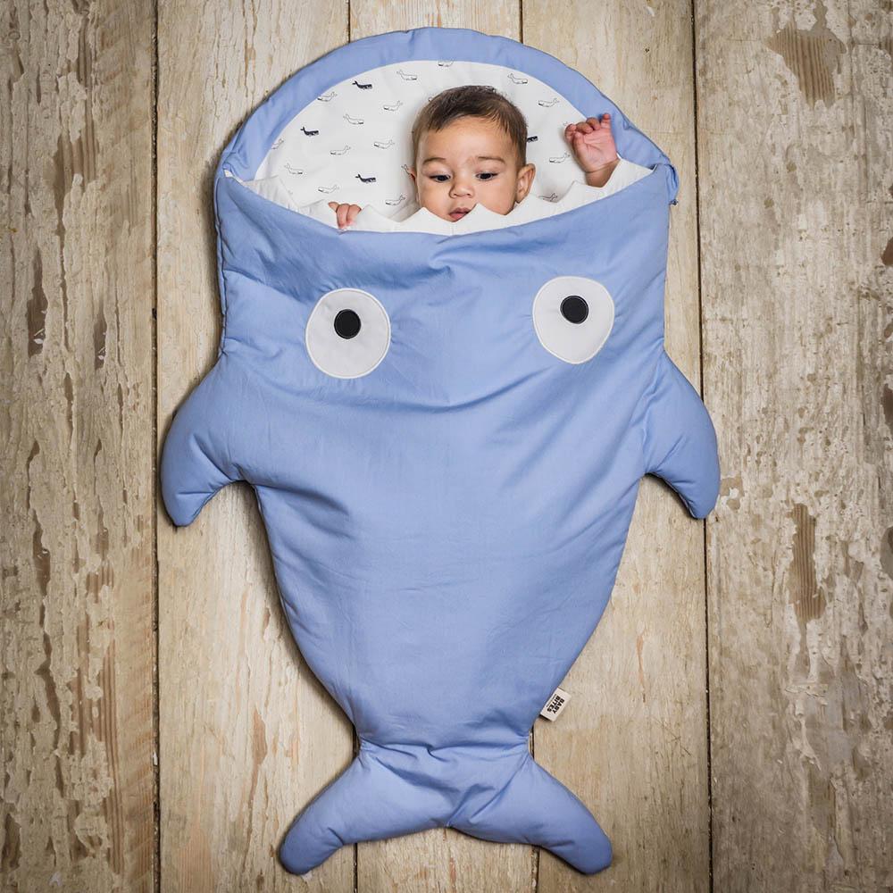 鯊魚咬一口 BabyBites|100%純棉手作嬰幼兒睡袋/防踢被/包巾-牽牛花藍