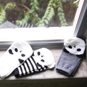 彌之星 MiniDressing 兒童彈性止滑襪(三件組)-迷糊Panda