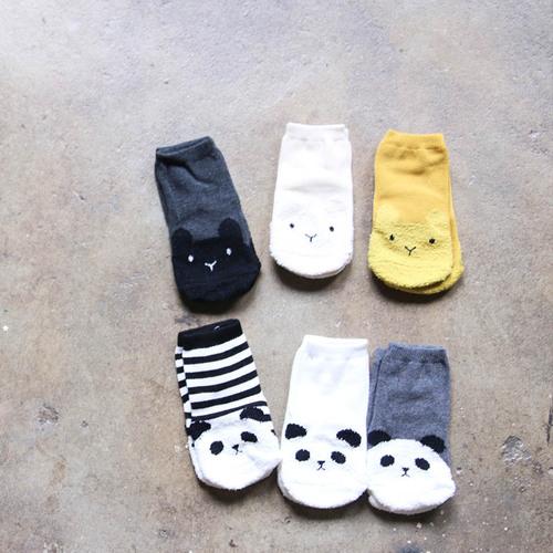 彌之星 MiniDressing|兒童彈性止滑襪(三件組)-迷糊Panda