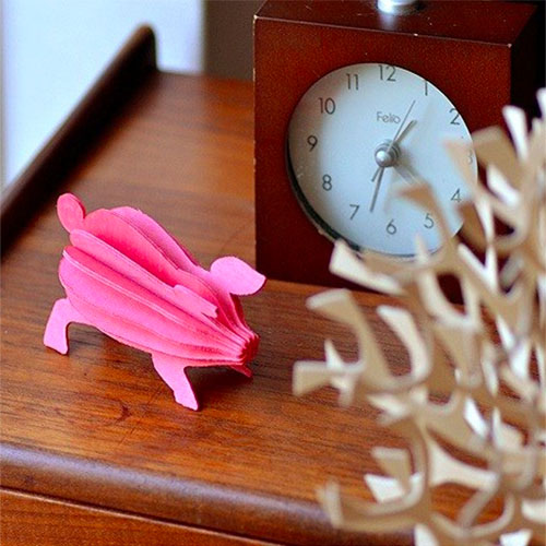 LOVI|3D立體拼圖樺木明信片/擺飾-嘟嘟豬(9.5cm)
