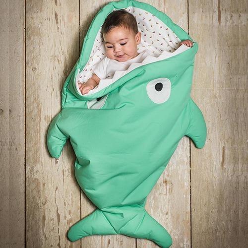 鯊魚咬一口 BabyBites|100%純棉手作嬰幼兒睡袋/防踢被/包巾-青草綠
