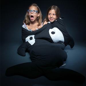 BabyBites|100%純棉手作兒童版睡袋/防踢被-鯊魚咬一口/小殺人鯨