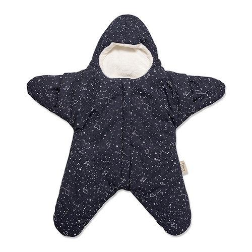 鯊魚咬一口 BabyBites|(標準版)100%純棉手作嬰幼兒睡袋/防踢被/包巾-星空海星/午夜藍