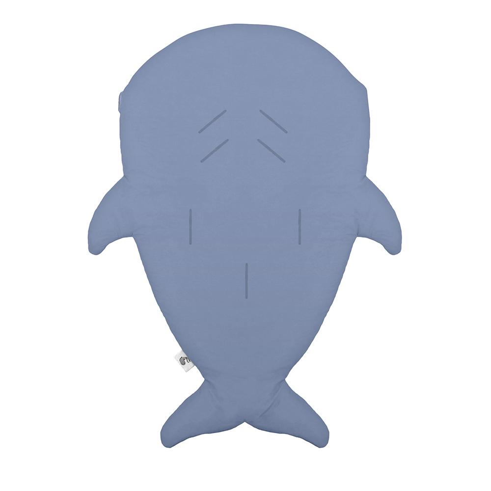 鯊魚咬一口 BabyBites|(輕量版)100%純棉手作嬰幼兒睡袋/防踢被/包巾-湛灰藍