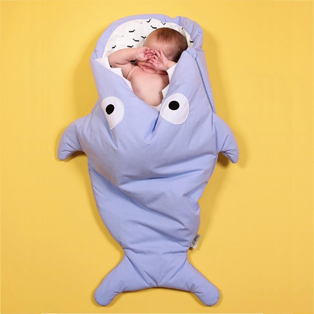 鯊魚咬一口 BabyBites|(輕量版)100%純棉手作嬰幼兒睡袋/防踢被/包巾-牽牛花藍