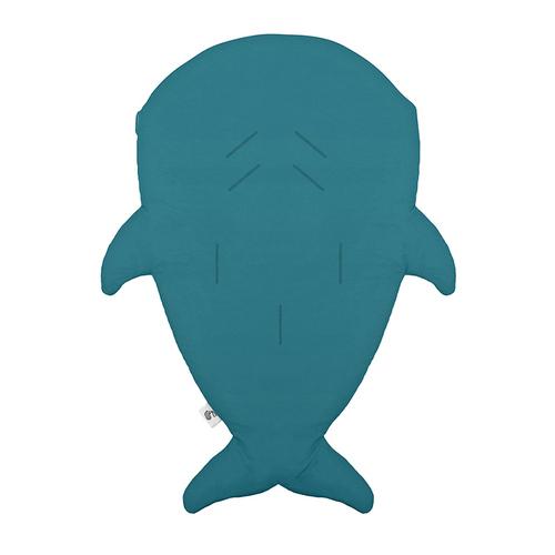 鯊魚咬一口 BabyBites|(輕量版)100%純棉手作嬰幼兒睡袋/防踢被/包巾-土耳其藍