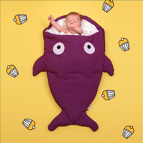 鯊魚咬一口 BabyBites (輕量版)100%純棉手作嬰幼兒睡袋/防踢被/包巾-紫羅蘭
