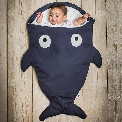 鯊魚咬一口 BabyBites 100%純棉手作嬰幼兒睡袋/防踢被/包巾-丈青藍