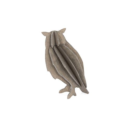 LOVI|3D立體拼圖樺木明信片/擺飾- 貓頭鷹 (9.5 cm)