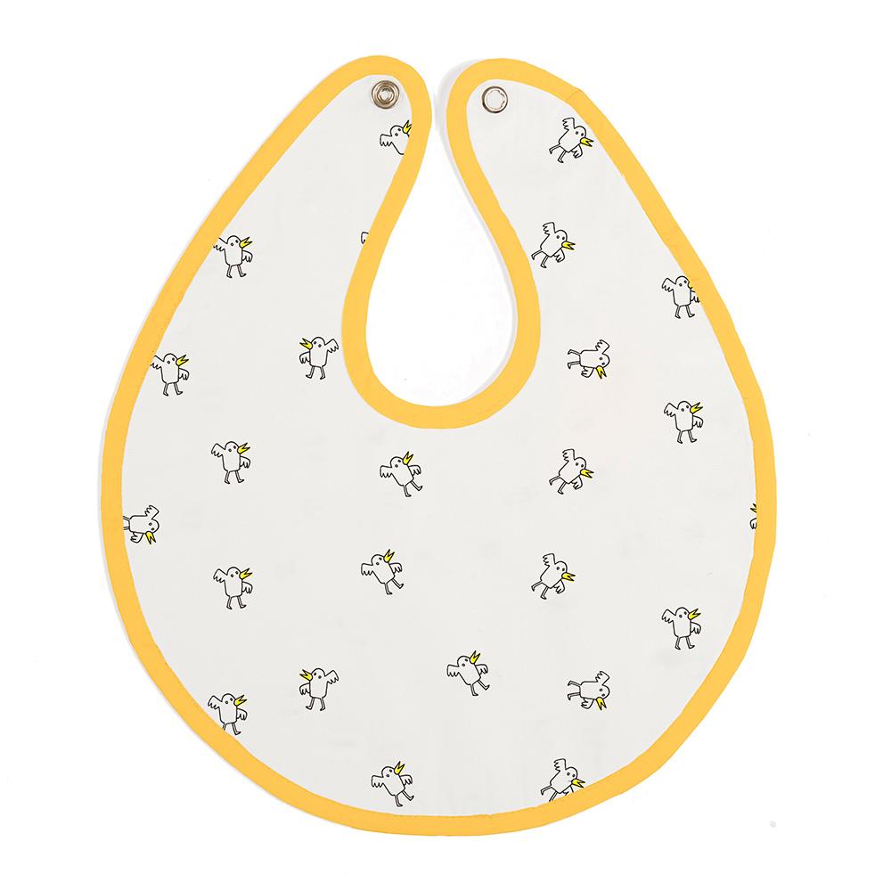 鯊魚咬一口 BabyBites|100% 親膚純棉、防潑水完整包覆寶寶口水巾|圍兜-黃色鴨鴨