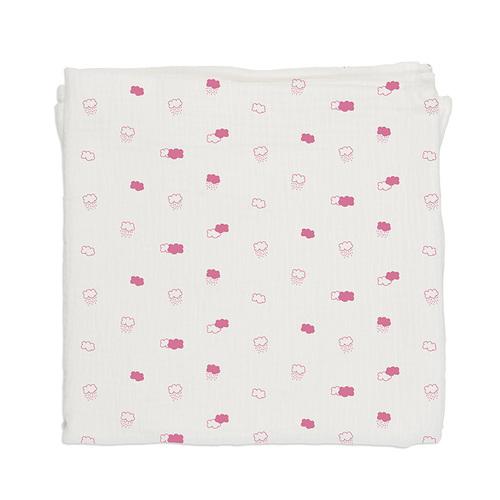 鯊魚咬一口 BabyBites|100% 純棉舒適透氣超萌圖騰包巾-粉底朵朵雲